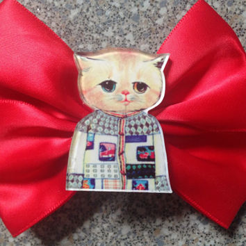 Red Astronaut Kitty Hair Bow Space Cat Kitten Galaxy Cat Goth Gothic Cute