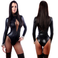 Women Sexy Black Vinyl Leather Lingerie Bodysuits Erotic Leotard Costumes Rubber Flexible Hot Latex Catsuit Catwomen Costume