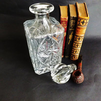 Whiskey Decanter Etched Cut Crystal Square Liquor Bottle, Scotch Whisky Spirit Brandy, Home Bar, Crystal Barware Wedding Anniversary Gift