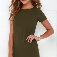 Shift and Shout Olive Green Shift Dress