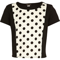 River Island Girls black polka dot textured cropped top