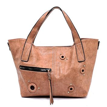 NEW Fashion Zip Grommet Tote