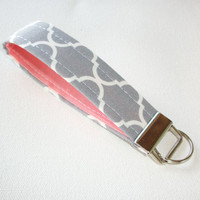 Key FOB / KeyChain / Wristlet  - soft - gray white Quatrefoil trellis coral - coworker gift mothers day under 10