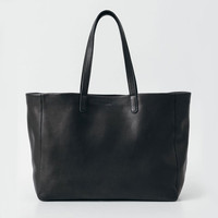 Oversized Leather Tote Black
