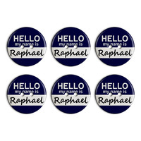 Raphael Hello My Name Is Plastic Resin Button Set of 6