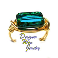 DWJ0329 Beautiful Czech Glass Teal Picasso Gold Wire Wrapped Ring All Sizes