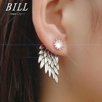 ES101 Women's Angel Wings Stud Earrings Inlaid Crystal Alloy Ear Jewelry Party Earring Gothic Feather Brincos Fashion 2018