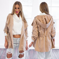 Stylish Lady Women's Long Coat Trench Windbreaker Hoodies Outwear VVF = 1931743748