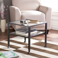 Durable Black Metal and Tempered Glass Coffee Table with Shelf