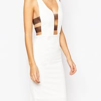 NaaNaa Plunge Front Bodycon Dress With Sheer Bandage Sides at asos.com