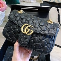 GUCCI New Fashion More Letter Leather Chain Shoulder Bag Crossbody Bag Black