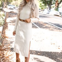 Cream Ribbed Knit Midi Dress