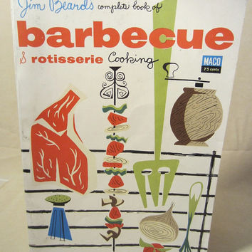 Vintage 1954 Maco Magazine Paper Back Cook Book, Jim Beard's Complete Book of Barbecue & Rotisserie Cooking, Cook Gift, Kitchen, Rare Books