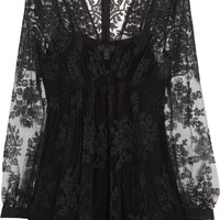 Burberry Prorsum - Floral-embroidered tulle top
