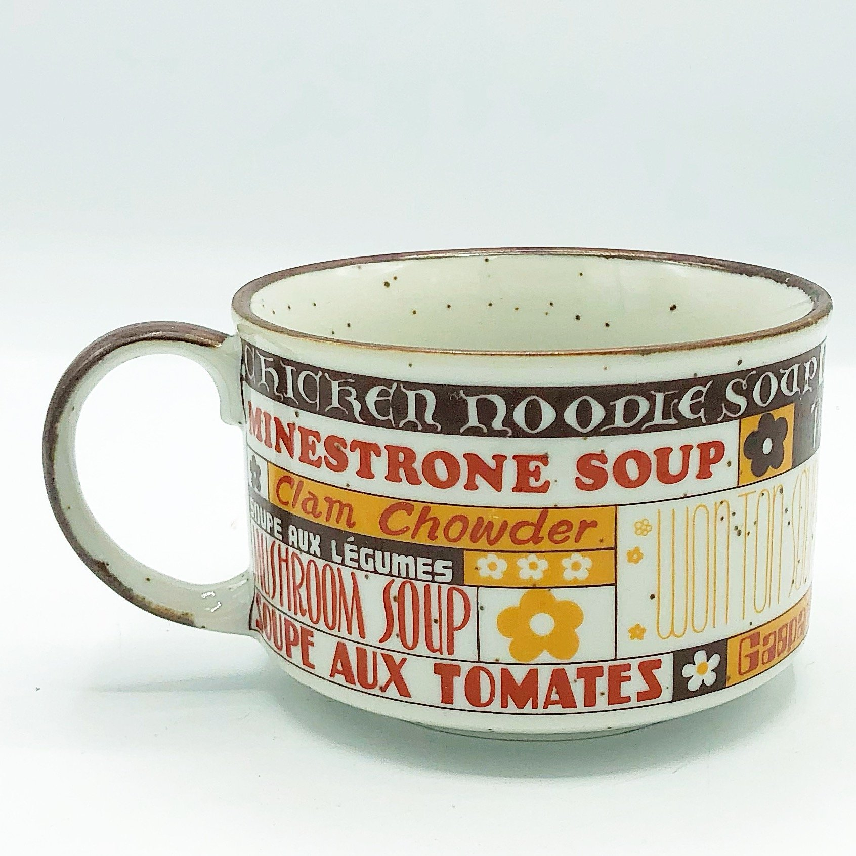 Image of Vintage Brown Soup Mug with Names of Soups Made in Japan