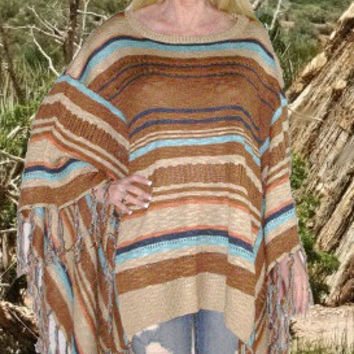 SALE 50% OFF Mexican Blanket Poncho Boho Sweater With Fringe Brown Tan And Turquoise In Sizes XS - Small Or Medium - Large