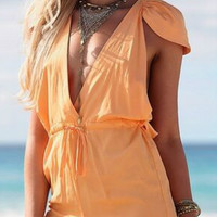 Deep V Neck Drawstring Romper