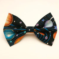 Space Hair Bow  • Galaxy Hair Bow • Star Fabric Bow • Geekery • Nerdy Girls Gifts • Solar System Bow • Science Hair Bow •Planetary Bow Gifts