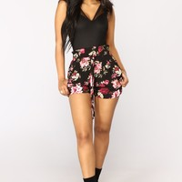 Flower Power Tie Waist Shorts - Black