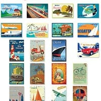 VINTAGE TRAVEL POSTERS postcard set of 20. Post card variety pack of retro style poster postcards. Made in USA.