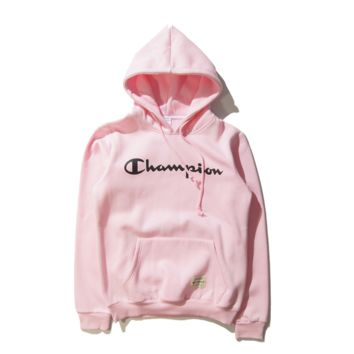 Tide brand Champion men and women couples long-sleeved hooded T-shirt plus cashmere sweater Pink
