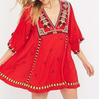 Free People Tulum Embroidered Red Mini Dress - Urban Outfitters