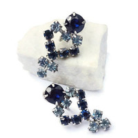 Dark Sapphire or Cobalt Blue & Pale Ice Blue Earrings,2 Tone Rhinestone Earrings for non Pierced Ears,Something Blue,Vintage Sparkly Jewelry