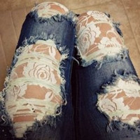 Blue Broken Hole Floral Design Laced Jeans