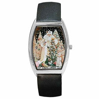 Christmas Traditional White Winter Santa on Womens Barrel Watch with Leather Band