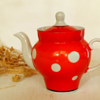 Red Polka Dot Teapot Porcelain Teapot Retro Kitchen Decor Vintage Coffee Pot Kitchenware
