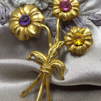 Trendy Bouquet of Spring Flowers Art Nouveau Brooch, Embossed Goldtone Floral Pin with Purple Pink & Yellow Rhinestones , Unisex Lapel Pin