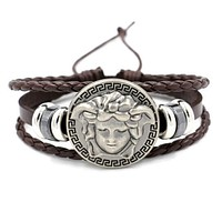 VERSACE Stylish Women Men Personality Hip-Hop Bracelet Hand Catenary Accessories Jewelry Coffee
