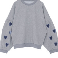 Gray Heart It Oversized Cropped Pullover