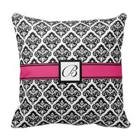 Monogrammed Damask Pattern Throw Pillow Hot Pink