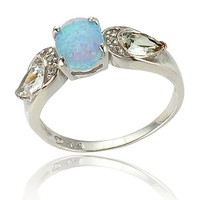 Sterling Silver 1.4 Carat Oval Cabochon Blue Opal Pear CZ Accents Three Stone Women's Wedding Ring SPJ