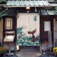 """Japanese Noren Doorway Curtain Tapestry 33.5"""" Width x 47.2"""" Wave and Whale"""