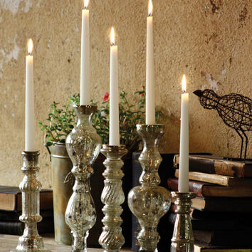Antiqued Silver Glass Taper Candle Holder 14.5in
