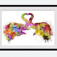 Elephants in love poster Elephant art decor Elephant watercolor print Home decoration Kids room Nursery room art Valentines day gift W627