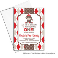 Kids birthday party invitations | Sock Monkey birthday party invites | red and brown argyle | printable or printed - WLP00326