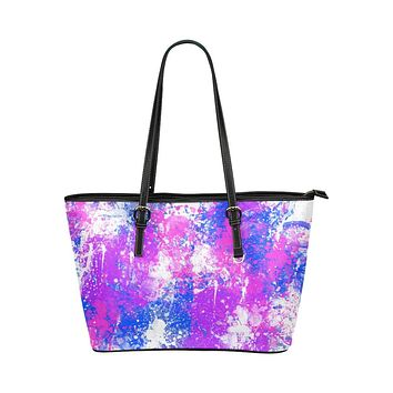 Tote Shoulder Bag with Abstract Paint Splatter Design