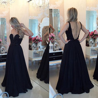 Backeless Sleeveless Black A-Line Prom Dresses