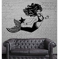 Mermaid Fantasy Marine Teen Girl Room Bathroom Wall Sticker Vinyl Decal Unique Gift (ig2117)