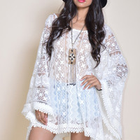 Samantha Lace Draped Cape Mini Dress