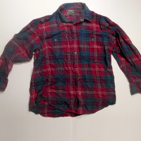 "Red Blue Plaid ""National Outfitters"" Flannel Shirt Size Medium/Large"