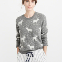Womens Moose Pattern Crew Sweater | Womens New Arrivals | Abercrombie.com