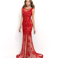 Red Valentine & Nude Sheer Beaded Lace Low Back Gown
