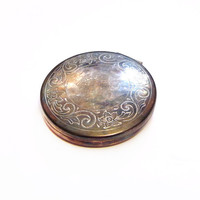 Vintage Compact Mirror Case, Silver Plated