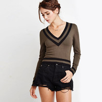 Deep V-Neck Ribbed Knit Crop Sweater