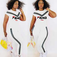 FENDI New Popular Women Casual Print Shorts Sleeve Top Pants Set Two Piece
