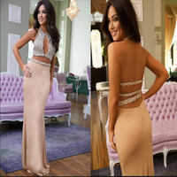 BY53 Luxury Halter Crystal Two Piece Mermaid Prom Dresses 2016 Vestido de festa  Champagne Chiffon Long 2 Piece Prom Dress